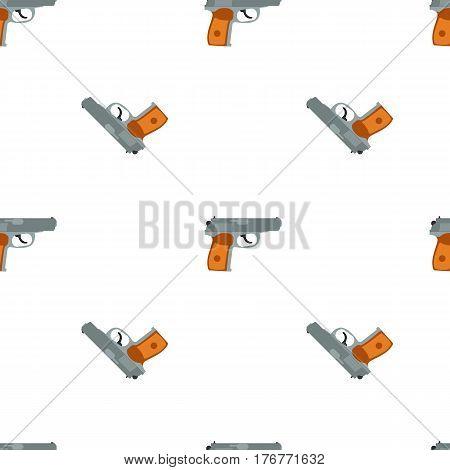Pistol handgun security and military weapon seamless pattern, tiling ornament. Metal gun. Vector illustration.