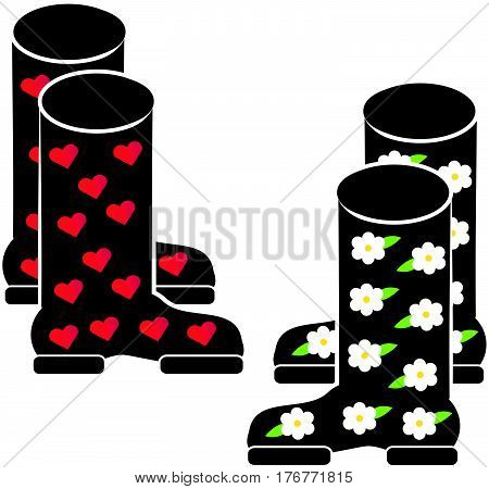 Wellies on white background. Vector illustration. Eps10