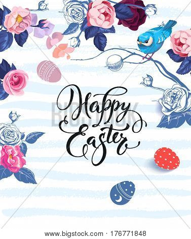 Happy Easter lettering written with calligraphic font, bunches of roses and small bird sitting on branch against blue paint stripes on background. Vector illustration for banner, flyer, postcard.