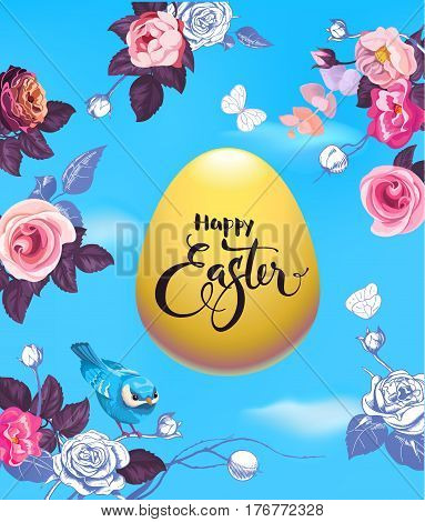 Happy Easter hand lettering on golden egg surrounded by beautiful half-colored flowers, butterflies and cute blue bird against spring sky with clouds on background. Vector illustration for invitation.