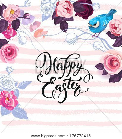 Happy Easter greeting card decorated by gorgeous bunches of semi-colored roses, colorful eggs and cute blue bird against paint traces on background. Vector illustration for flyer, party invitation.