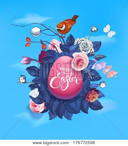 Decorated pink Easter egg with beautiful hand lettering against bouquet of wild roses, cute small bird and blue spring sky on background. Vector illustration for celebration banner, greeting card.