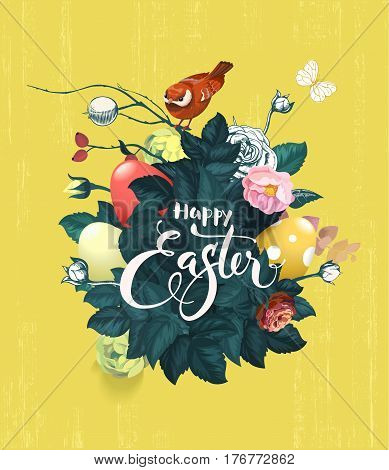 Beautiful bouquet of spring flowers, green leaves and decorated Easter eggs, text handwritten with calligraphic font and birdie sitting on top against grungy yellow background. Vector illustration.