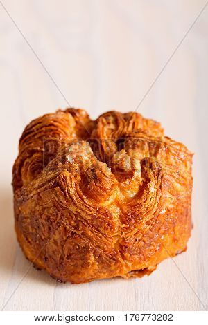close-up of delicious and sweet kouign amann traditional breton pastry