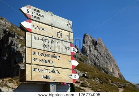 Singpost in the Dolomite mountains, Northern Italy
