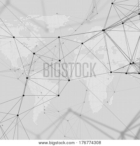 Abstract futuristic network shapes. High tech background with connecting lines and dots, polygonal linear texture. World map on gray. Global network connections, geometric design, dig data technology digital concept.