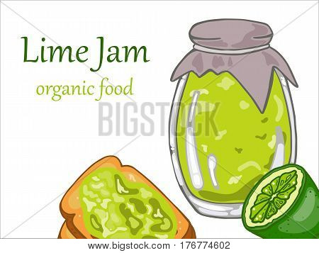 Lime jam in jar lime and toast bread with lime jam vector illustration
