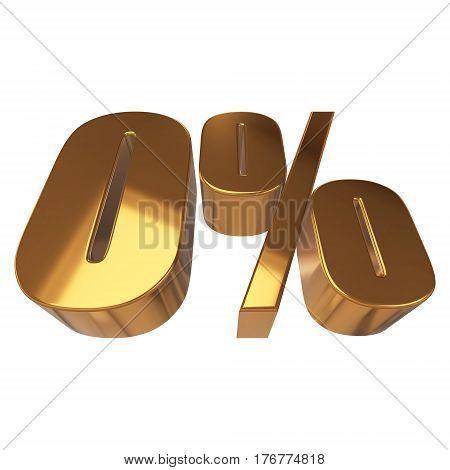 Gold zero percent on white background. 3d render illustration.