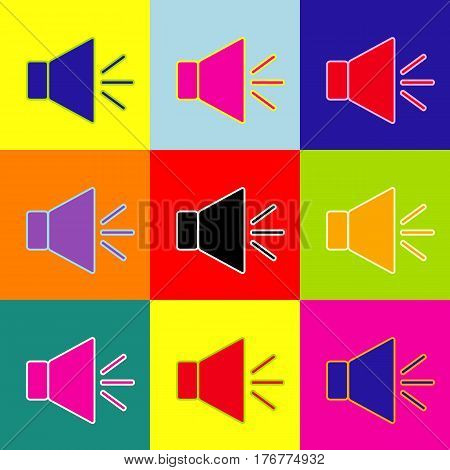 Sound sign illustration with mute mark. Vector. Pop-art style colorful icons set with 3 colors.