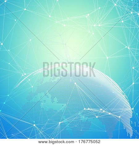 Abstract futuristic background with connecting lines and dots, polygonal linear texture. World globe on blue. Global network connections, geometric design, technology digital concept