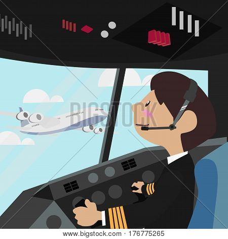 Pilot vector illustration design Flight Deck aircraft Pilots at work from the plane cockpit