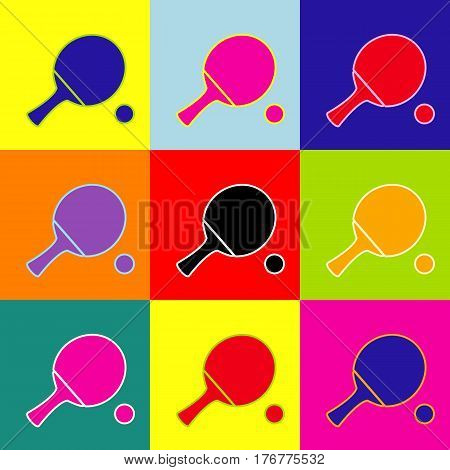 Ping pong paddle with ball. Vector. Pop-art style colorful icons set with 3 colors.
