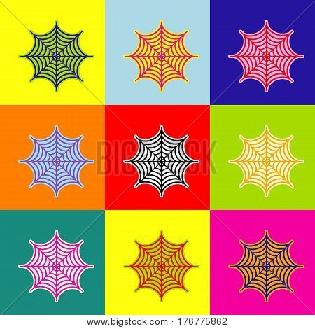 Spider on web illustration. Vector. Pop-art style colorful icons set with 3 colors.