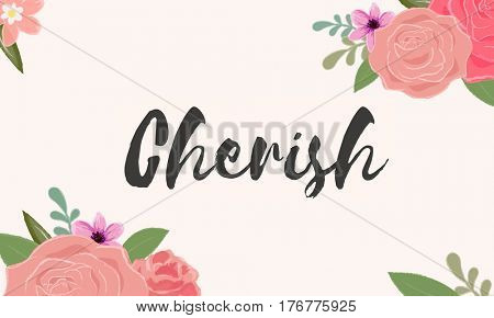 Cherish Love Letter Message Words Graphic poster