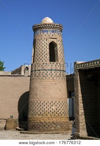 Minaret of a mosque in Uzbeki style, Old Town of Khiva