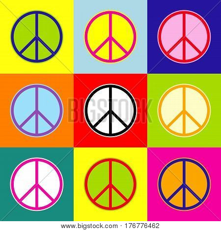 Peace sign illustration. Vector. Pop-art style colorful icons set with 3 colors.