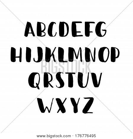 Vector hand drawn brush latin alphabet. ABC set. Lettering caps letters. Vector. Black handwritten bold abc set isolated on white background.