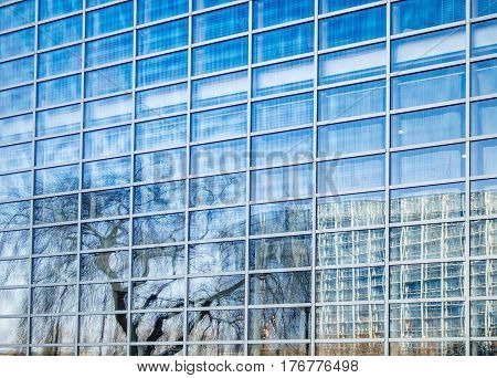 Reflection of the European Parliament building in the glass facade of the Council of Europe building in Strasbourg France
