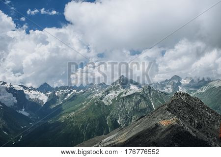 Mountains Landscape High Peaks Scenery Wild Nature Calm Scene.