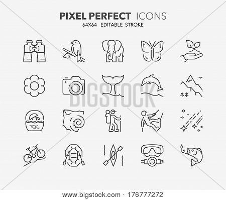 Set of outdoor and ecotourism activities thin line icons. Contains icons as fauna and flora observation national parks jurassic fossil sport fishing perseids and more. Editable vector stroke. 64x64 Pixel Perfect.