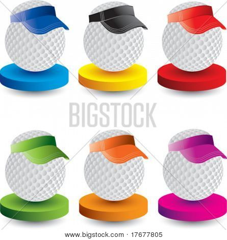 golf ball with visor on multicolored display plates