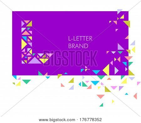 Creative logo for the corporate identity of the company: the letter L. The letter is made up of bright parts, triangles. A mosaic letter, a kaleidoscope. Modern style.  Geometry.