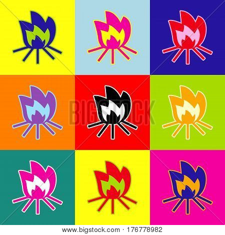 Fire sign. Vector. Pop-art style colorful icons set with 3 colors.