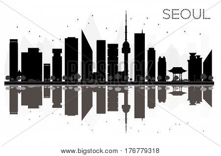 Seoul City skyline black and white silhouette with Reflections. Simple flat concept for tourism presentation, banner, placard or web site. Cityscape with landmarks.