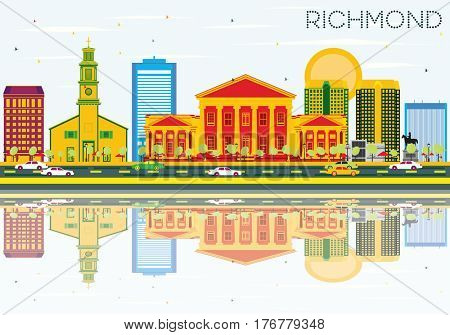 Richmond Skyline with Color Buildings, Blue Sky and Reflections. Business Travel and Tourism Concept with Historic Architecture. Image for Presentation Banner Placard and Web Site.