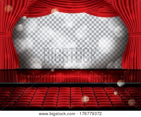 Open Red Curtains with Seats and Copy Space on Transparent Grid. Theater, Opera or Cinema Scene. Light on a Floor.