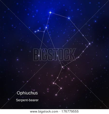 Serpent-bearer constellation in the night starry sky. Vector illustration