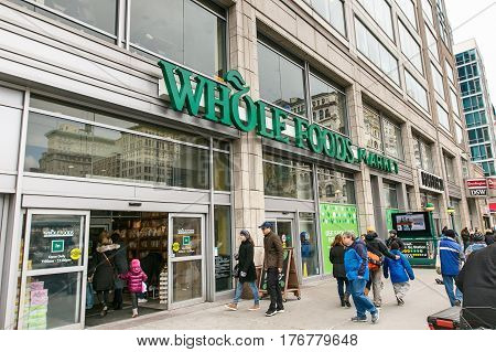 New York March 11 2017: People are coming in a Whole Foods grocery store on Union Square in Manhattan.