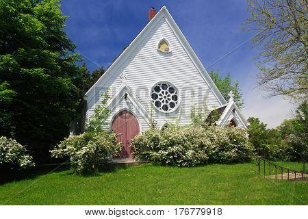 Old abandoned church in spring in rural America.