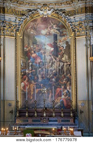 ROME, ITALY - SEPTEMBER 04: Martyrdoms of the Apostles Philip and James the Less by Domenico Maria Muratori, altarpiece in church dei Santi XII Apostoli in Rome, Italy on September 04, 2016.