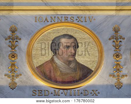 ROME, ITALY - SEPTEMBER 05: Image of Pope John XIV was Pope from December 983 to his death in 984 in the basilica of Saint Paul Outside the Walls, Rome, Italy on September 05, 2016.