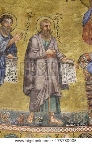 ROME, ITALY - SEPTEMBER 05: Saint Paul mosaic in the basilica of Saint Paul Outside the Walls, Rome, Italy on September 05, 2016.