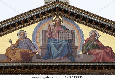 ROME, ITALY - SEPTEMBER 05: Mosaic of Jesus Christ the Teacher, Saints Peter and Paul, Basilica of Saint Paul outside the walls, Rome, Italy on September 05, 2016.