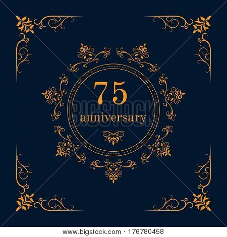 75 year anniversary celebration card,  anniversary background. Vector illustration
