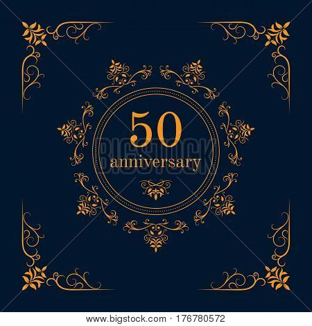 50 year anniversary celebration card,  anniversary background. Vector illustration