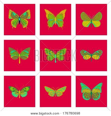 set of flat shading style icon butterfly