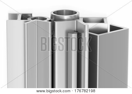 Metallurgical industry products - group of rolled steel metal products (profiles pipes girders bars balks and armature) on white industrial 3D illustration