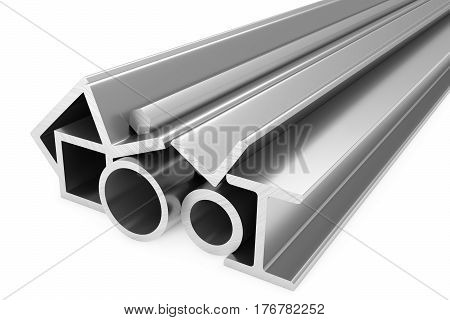 Metallurgical industry products - group of stainless rolled steel products (pipes profiles girders bars balks and armature) on white industrial 3D illustration