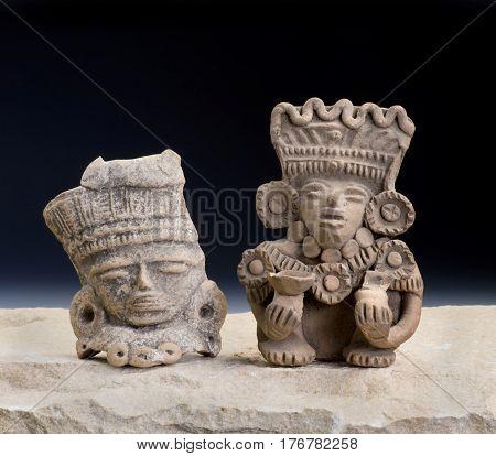 Mayan Pre Columbian warrior figurines made around 600-1000 AD.