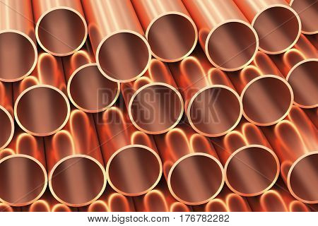 Metallurgical industry products abstract illustration - many  shiny copper pipes industrial background 3D illustration