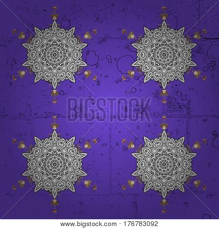 Snow flakes background with doodles and grunge elements. Snowflake vector design in violet colors.