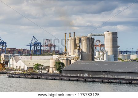 Port Louis Mauritius - December 12 2015: Industrial landscape in import export and business logistic at Port Louis Mauritius.