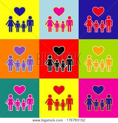 Family symbol with heart. Husband and wife are kept children's hands. Vector. Pop-art style colorful icons set with 3 colors.