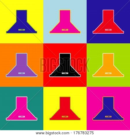 Exhaust hood. Kitchen ventilation sign. Vector. Pop-art style colorful icons set with 3 colors.