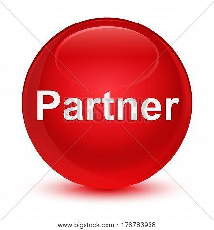 Partner Glassy Red Round Button