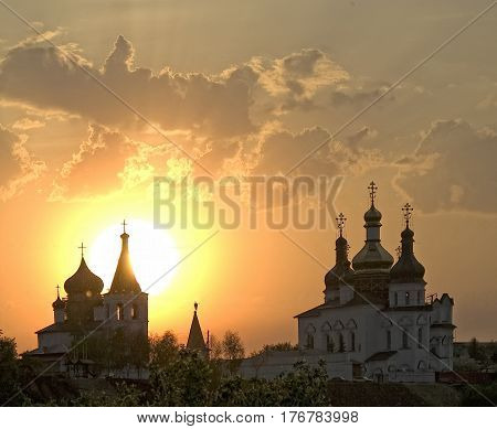 Sunset. Holy Trinity Monastery. Church of Saints Peter and Paul and Holy Trinity Cathedral. Tyumen
